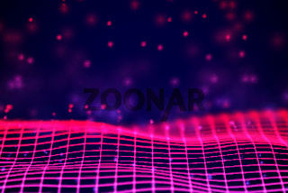 Virtual reality concept: 3D Neon digital wireframe grid with floating particles.