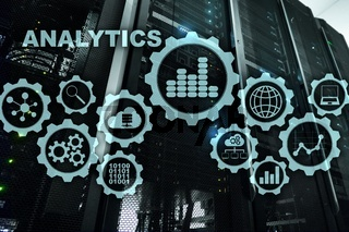Technology Analytics concept on virtual screen. Big data with graph icons on a digital screen interface and a server room background
