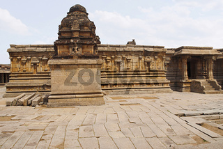 A shrine in thr front, a south wall of the main sanctum in the back and an entrance to the ardh-mandapa on the right, Krishna Temple, Hampi, Karnataka