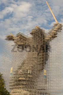 Volgograd, Russia, August 2019 mother Motherland monument Volgograd Mamaev Kurgan.Monument under reconstruction