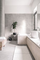 Stylish bathroom in modern style with different walls