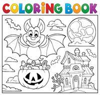 Coloring book Halloween bat theme 2
