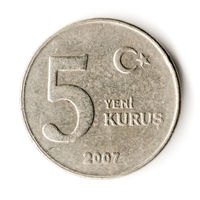 Old Turkish Coin on White Background, 5 Yeni Kurus, 2007