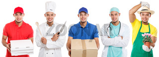 Occupations occupation education training profession doctor cook young latin man job isolated on white