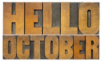 Hello October  word abstract in wood type