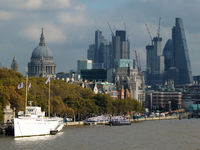 London, England - November 03, 2017: The city of london financial district showing current construction work on new large developemnts, taken from the thames south bank with historic buildings