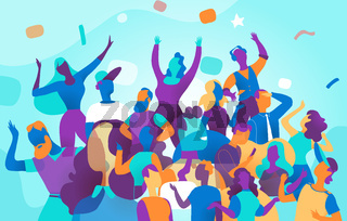 Young people celebrate during a big party