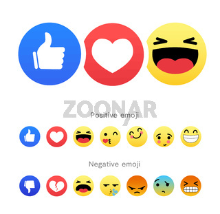 Set of positive and negative round emoji icons