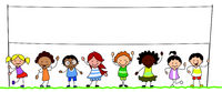 multiethnic group of kids holding blank banner illustration -