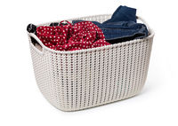 plastic basket bowl with clothing
