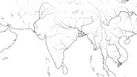 World Map of SOUTH ASIA REGION and INDIA SUBCONTINENT: Pakistan, India, Himalayas, Bengal. (Geographic chart).