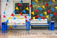 Blue White Bench Colorful Triangular Banners Store