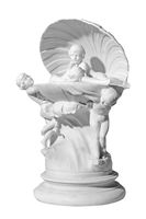 statuette with antique scene on a white background