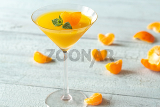 Cocktail glass with orange jelly dessert