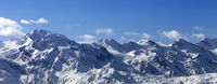View on snowy mountains in nice sunny day