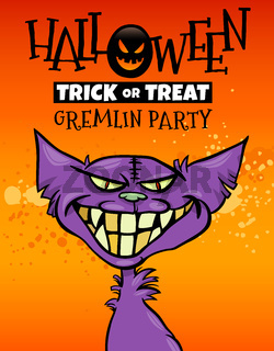 Halloween holiday cartoon design with gremlin