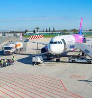 Airplane Larnaka International airport Cyprus