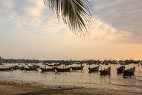 Vietnamese boats at sunset