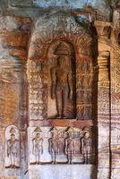 Cave 4 : Jaina Tirthankara images engraved on the inner pillars and walls. Badami caves, Badami, Karnataka.