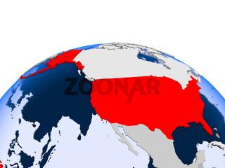 USA on political globe