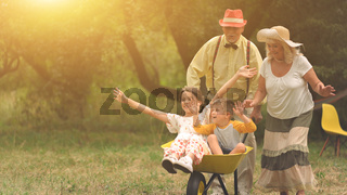 Grandma and grandpa are pushing their grandchildren in a wheelbarrow2