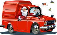 Cartoon retro New Year's van isolated on white background