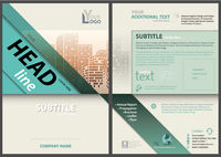 Flyer Template with Stripes and City Skyline