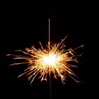 Christmas sparkler isolated on the black background