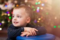 Happy cute boy portrait at Christmas