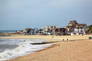 The sandy coast at Cobb harbor. Lyme Regis. West Dorset. England
