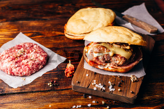 Burger on Cutting Board.