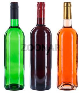 Weinflaschen Wein Flaschen Sammlung Rotwein Weißwein Rose Alkohol freigestellt