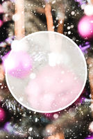 Christmas Tree With Blurry Purple Balls, Copy Space, Snowflakes