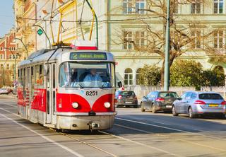 Old fashioned tram in Prague, Czech Republic