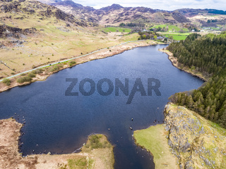 Aerial view of Llynnau Mymbyr are two lakes located in Dyffryn Mymbyr, a valley running from the village of Capel Curig to Pen-y-Gwryd in Snowdonia, north-west Wales