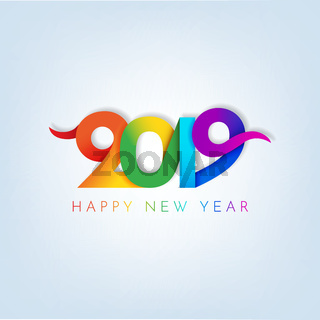 Inscription Happy new year 2019 on white background