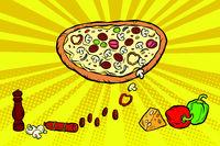 pizza ingredients cheese sausage peppers mushrooms