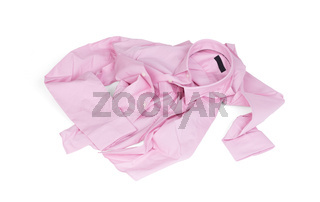 Unfolded pink man shirt on white background