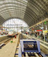 Modern train arrival Frankfurt  station