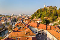 Cityscape of Ljubljana, capital of Slovenia in warm afternoon sun.