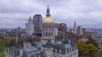 Hartford Connecticut Aerial View Capital Building Statehouse Downtown