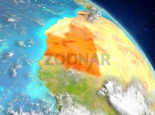Mauritania from orbit