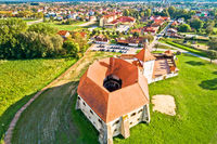 Djurdjevac old town and green landscape aerial view