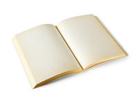 Old open blank book isolated on white