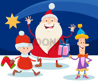Christmas design with cartoon Santa Claus and star