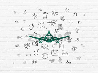 Tourism concept: Aircraft on wall background