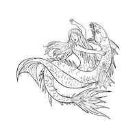Mermaid Fighting a Sea Serpent Drawing Black and White