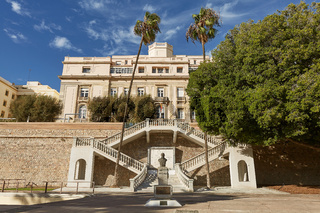 Architecture and symmetrical stairs in Cartagena in Spain