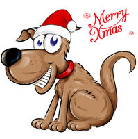 dog Santa Claus with merry christmas text. Isolated  illustration