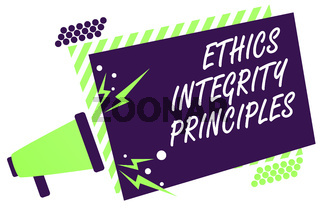 Text sign showing Ethics Integrity Principles. Conceptual photo quality of being honest and having strong moral Megaphone loudspeaker green striped frame important message speaking loud.